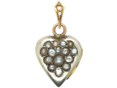 Edwardian 15ct White & Yellow Gold Heart Shaped Locket Set with Natural Split Pearls in a Grape Design