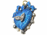 Edwardian 15ct Gold Blue Enamel, Natural Pearls & Diamond Heart Shaped Pendant with Bow Top