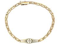 Art Deco 14ct Gold & Diamond Bracelet