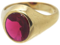 Large 9ct Gold & Synthetic Red Stone Signet Ring