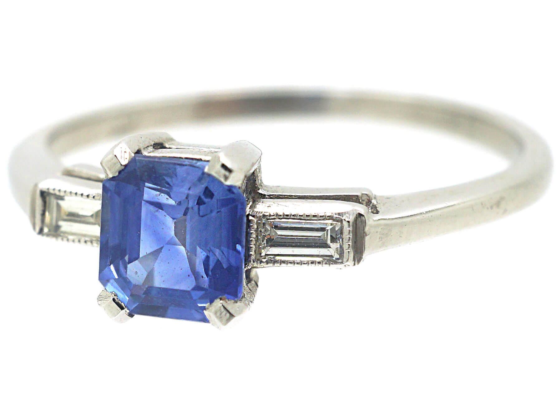 Platinum, Rectangular Sapphire & Baguette Diamond Ring