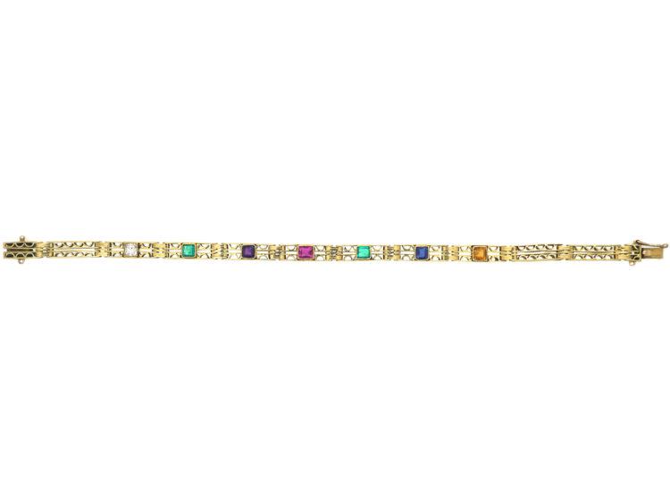 Edwardian 18ct Gold Bracelet with Gemstones that Spell Dearest