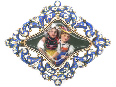 Georgian 15ct Gold Swiss Enamel Brooch of Two Swiss Girls in Traditional Costume