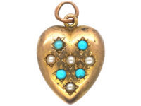 Edwardian Heart Shaped Pendant set with Natural Split Pearls & Turquoise