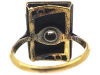 Art Deco Onyx & Diamond Rectangular Ring