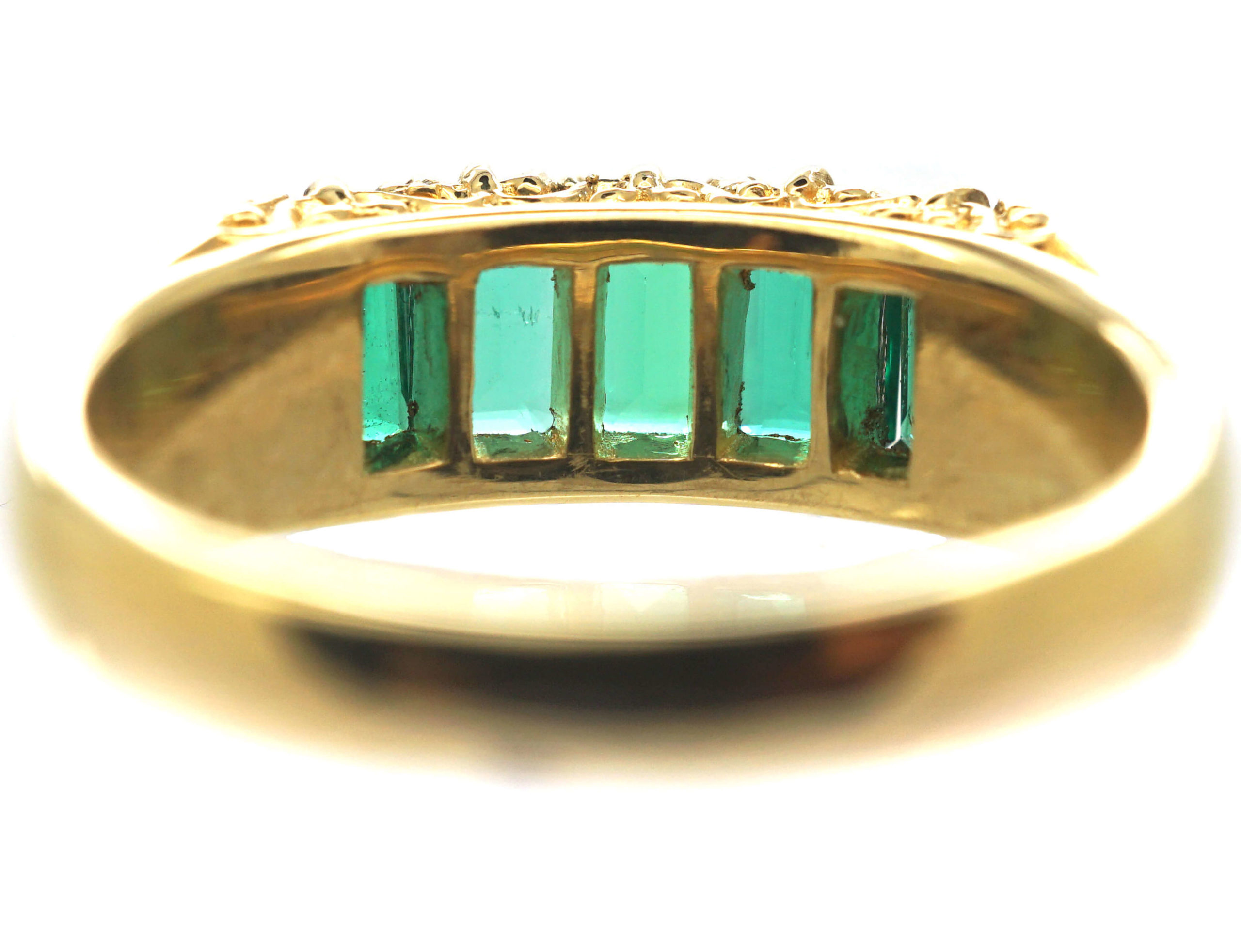 18ct Gold Five Stone Emerald Ring