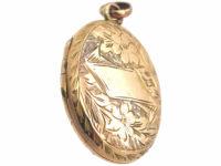 Edwardian 9ct Gold Engraved Oval Locket