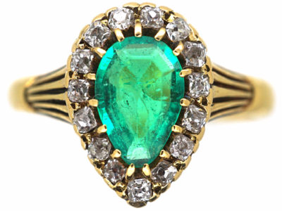 Victorian 18ct Gold, Emerald & Diamond Pear Shaped Ring