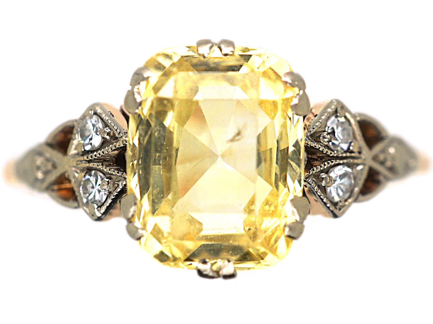 Edwardian 14ct Gold, Yellow Sapphire & Diamond Ring
