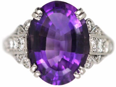 Art Deco 18ct White Gold, Amethyst & Diamond Ring