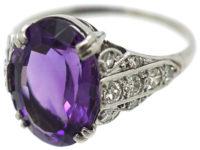Art Deco 18ct White Gold, Amethyst & Diamond Ring