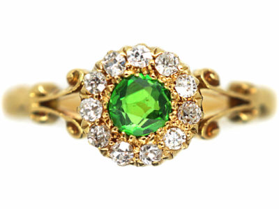 Edwardian 18ct Gold, Green Garnet & Diamond Cluster Ring