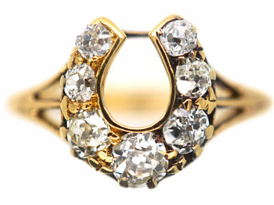 Victorian 18ct Gold Horseshoe Shape Ring set with Diamonds