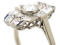 Art Deco Platinum, Diamond & Sapphire Rectangular Geometric Ring
