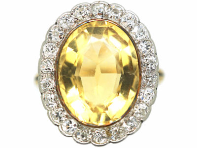 Edwardian 15ct Gold & Platinum, Citrine & Diamond Oval Cluster Ring