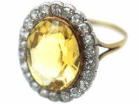 Edwardian 15ct Gold & Platinum, Citrine & Diamond Oval Cluster Ring
