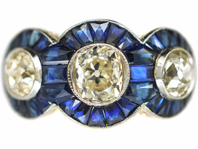Art Deco 18ct Gold, Sapphire & Diamond Triple Cluster Ring