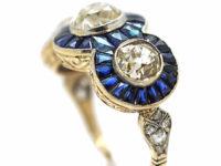 Art Deco 18ct Gold, Sapphire & Diamond Triple Cluster Ring