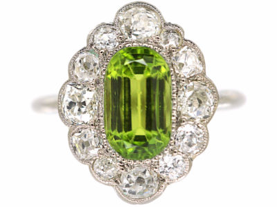 Edwardian Platinum, Peridot & Diamond Ring