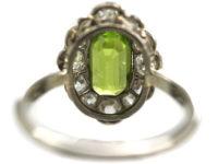 Edwardian Platinum, Peridot & Diamond Ring