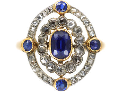 Edwardian 18ct Gold, Sapphire & Rose Diamond Open Cluster Ring