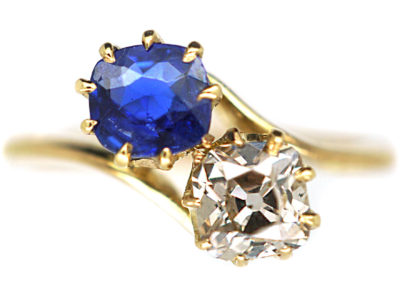 Edwardian 18ct Gold, Sapphire & Diamond Crossover Ring
