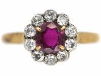 Edwardian 18ct Gold & Platinum, Ruby & Diamond Cluster Ring