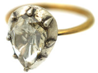 18ct Gold & Silver Pear Shaped Large Rose Diamond Ring