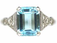 Art Deco 18ct White Gold & Platinum, Aquamarine & Diamond Ring