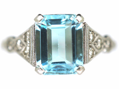 Art Deco 18ct White Gold & Platinum, Aquamarine & Diamond Ring