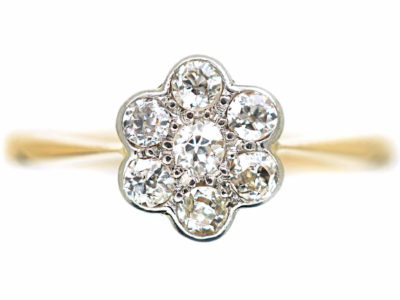 Edwardian 18ct Gold, Platinum & Diamond Daisy Cluster Ring