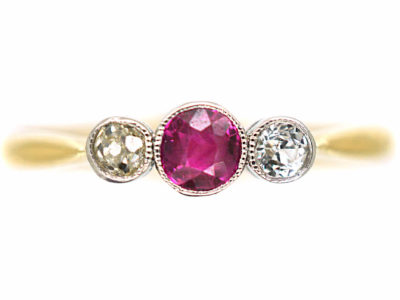Edwardian 18ct Gold, Ruby & Diamond Three Stone Ring