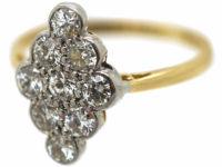 Edwardian 18ct Gold & Platinum, Diamond Shaped Cluster Ring set with Diamonds