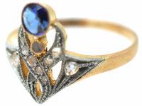 Art Nouveau 18ct Gold & Platinum, Sapphire & Rose Diamonds Ring