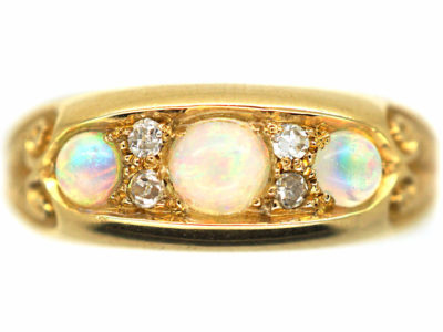 Edwardian 18ct Gold, Opal & Diamond Three Stone Ring