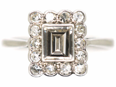 Art Deco Platinum & Diamond Rectangular Ring with Emerald Cut Central Diamond