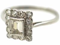 Art Deco Platinum & Diamond Rectangular Ring with Emerald Cut Central Diamond
