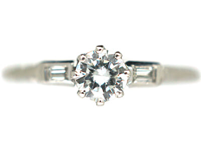 Art Deco 18ct White Gold & Platinum Solitaire Diamond Ring with Baguette Diamond Shoulders