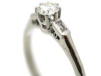 Art Deco 18ct White Gold & Platinum Solitaire Diamond Ring with Baguette Diamond Shoulders