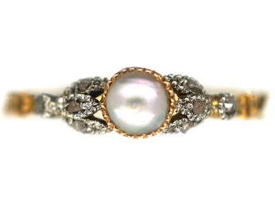 Georgian 18ct Gold, White Enamel, Natural Split Pearl & Rose Diamond Ring