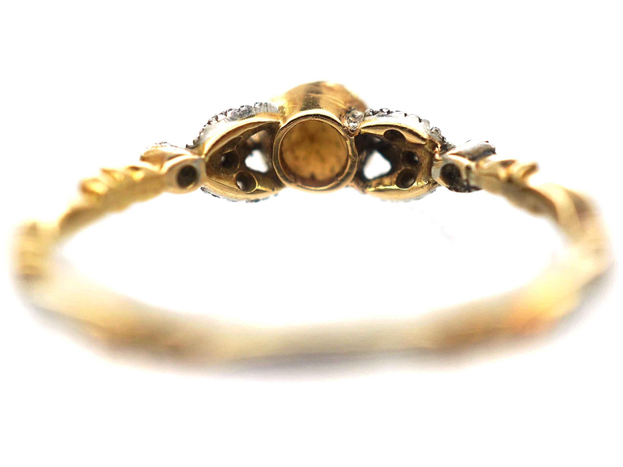 Georgian 18ct Gold, White Enamel, Natural Split Pearl & Rose Diamond Ring