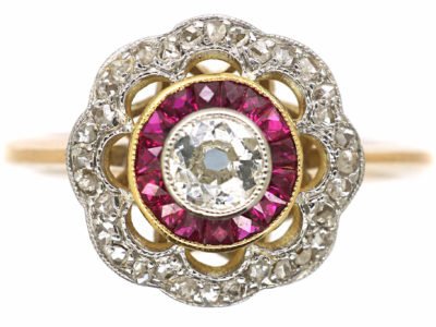 Art Deco 18ct Gold & Platinum, Diamond & Ruby Target Ring