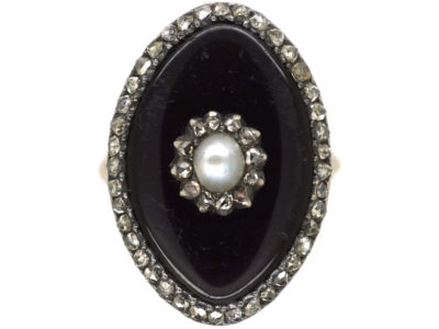 Georgian 9ct Gold, Enamel, Rose Diamond & Natural Split Pearl Navette Shaped Ring