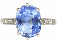 Art Deco Platinum, Ceylon Sapphire Ring with Diamond Set Shoulders