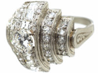Art Deco 18ct White Gold & Diamond Curve Design Ring