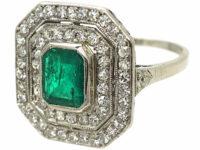 Art Deco Platinum, Emerald & Diamond Octagonal Shaped Ring