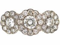 Edwardian 18ct Gold & Platinum & Diamond Triple Cluster Ring