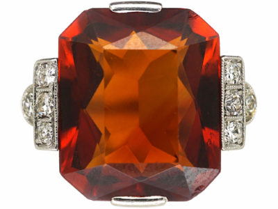 Art Deco 18ct White Gold, Madeira Citrine & Diamond Ring