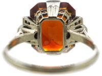 Art Deco 18ct White Gold, Madeira Citrine & Diamond Ring