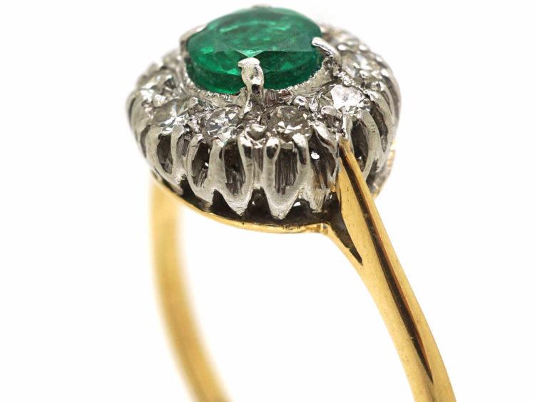 18ct Gold & Platinum, Emerald & Diamond Cluster Ring